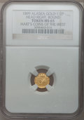 Alaska Tokens, 1899 Alaska Gold 1/2 Pinch Token, Round, Indian Head Right, MS65NGC. Hart's Coins of the West series....