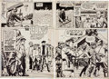 Original Comic Art:Splash Pages, Doug Wildey Star Spangled War Stories #161 Unknown SoldierDouble-Page Spread Original Art (DC, 1972).... (Total: 2 Items)