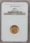 Liberty Quarter Eagles: , 1861 $2 1/2 New Reverse, Type Two MS61 NGC. NGC Census: (341/620).PCGS Population (99/422). Mintage: 1,283,878. Numismedia...