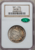 Seated Half Dollars: , 1861 50C MS62 NGC. CAC. NGC Census: (32/149). PCGS Population(40/156). Mintage: 2,888,400. Numismedia Wsl. Price for probl...