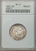 Coins of Hawaii: , 1883 25C Hawaii Quarter MS61 ANACS. NGC Census: (41/713). PCGSPopulation (50/1009). Mintage: 500,000. (#10987). From Th...