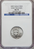Modern Bullion Coins, 2007 $25 Quarter-Ounce American Platinum Eagle Early Releases MS70NGC. NGC Census: (0). PCGS Population (2). Numismedia W...