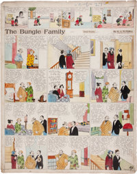 Harry Tuthill The Bungle Family Hand Colored Sunday Comic Strip Original Art dated 3-6-27 (McNaught Syndicate, 192