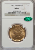 Indian Eagles: , 1907 $10 No Periods MS64 NGC. CAC. NGC Census: (694/563). PCGSPopulation (644/280). Mintage: 239,400. Numismedia Wsl. Pric...