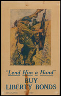 "Movie Posters:War, War Propaganda Poster (Liberty Loan Committee, 1918). WWI Poster(11.5"" X 18"") ""Lend Him a Hand, Buy Liberty Bonds."" War.. ..."