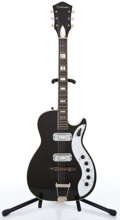 Musical Instruments:Electric Guitars, 1960's Silvertone Jupiter Black Solid Body Electric Guitar ...