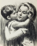 Fine Art - Painting, American:Contemporary   (1950 to present)  , FROM THE ESTATE OF CHARLES MARTIGNETTE.. ARTHUR SARON SARNOFF(American, 1912-2000). Mother and Child Embracing. C...