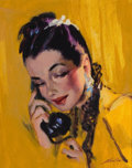 Mainstream Illustration, MERLIN ENABNIT (American, 1903-1979). A Phone Call. Oil onboard. 9.5 x 7.5 in.. Signed lower right. From the Estate...