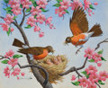 Mainstream Illustration, ARTHUR SARON SARNOFF (American, 1912-2000). Red Robins.Gouache and watercolor on paper. 18 x 22 in.. Signed lower left...