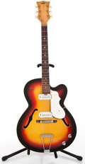 Musical Instruments:Electric Guitars, 1960's Vox Archtop Sunburst Semi-Hollow Body Electric Guitar#290064...