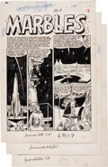 """Original Comic Art:Panel Pages, Bernard Krigstein Incredible Science-Fiction #30 """"Marbles""""Pages 1, 4, and 5 Original Art Group (EC, 1955).... (Total: 3Items)"""