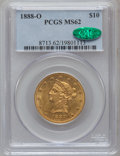 Liberty Eagles, 1888-O $10 MS62 PCGS. CAC. Variety 1-A....