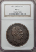 Coins of Hawaii: , 1883 $1 Hawaii Dollar XF45 NGC. NGC Census: (46/172). PCGSPopulation (134/245). Mintage: 500,000. (#10995). From TheCl...