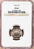 Proof Shield Nickels: , 1874 5C PR64 NGC. NGC Census: (88/117). PCGS Population (111/123).Mintage: 700. Numismedia Wsl. Price for problem free NGC...