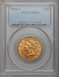 Liberty Eagles: , 1892-S $10 MS61 PCGS. PCGS Population (60/128). NGC Census:(71/105). Mintage: 115,500. Numismedia Wsl. Price for problem f...