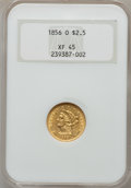 Liberty Quarter Eagles: , 1856-O $2 1/2 XF45 NGC. NGC Census: (23/113). PCGS Population(12/42). Mintage: 21,100. Numismedia Wsl. Price for problem f...