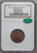 Two Cent Pieces, 1864 2C Large Motto MS66 Brown NGC. CAC. NGC Census: (30/0). PCGSPopulation (2/0). Mintage: 19,847,500. Numismedia Wsl. Pr...