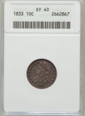 Bust Dimes: , 1833 10C XF40 ANACS. NGC Census: (8/241). PCGS Population (26/240).Mintage: 485,000. Numismedia Wsl. Price for problem fre...