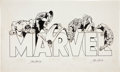 Original Comic Art:Illustrations, John Romita Sr. Marvel Logo with Characters IllustrationOriginal Art (Marvel, undated)....