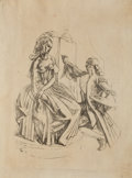 Mainstream Illustration, DEAN CORNWELL (American, 1892-1960). Painting a Maiden.Pencil on linen. 18.5 x 14.75 in.. Not signed. ...