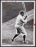 Baseball Collectibles:Photos, 1927 Babe Ruth 60th Home Run Original Press Photograph....
