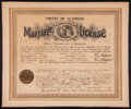 Baseball Collectibles:Others, 1909 Home Run Baker Original Marriage Certificate....