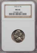 Jefferson Nickels: , 1955-D 5C MS66 NGC. NGC Census: (84/0). PCGS Population (30/0).Mintage: 74,464,096. Numismedia Wsl. Price for problem free...
