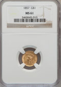 Gold Dollars: , 1857 G$1 MS61 NGC. NGC Census: (261/398). PCGS Population (60/284).Mintage: 774,789. Numismedia Wsl. Price for problem fre...