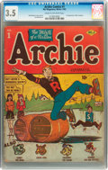 Golden Age (1938-1955):Humor, Archie Comics #1 (Archie, 1942) CGC VG- 3.5 Cream to off-white pages....