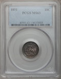 Seated Dimes: , 1851 10C MS63 PCGS. PCGS Population (8/16). NGC Census: (11/15).Mintage: 1,026,500. Numismedia Wsl. Price for problem free...