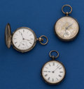 Timepieces:Pocket (pre 1900) , Two - Swiss Key Winds & One - Swiss Lever Fusee Pocket Watches.... (Total: 3 Items)