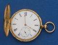 Timepieces:Pocket (pre 1900) , Swiss 49 mm 18k Gold Key Wind Pocket Watch. ...