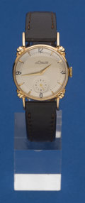 Timepieces:Wristwatch, LeCoultre 14k Gold Fancy Lug Wristwatch . ...