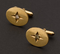 14k Gold Cufflinks Set With Diamonds