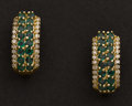Estate Jewelry:Earrings, 14k Gold & Emerald Earrings. ...