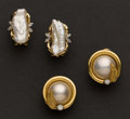 Estate Jewelry:Earrings, Two Pair Of 14k Gold Pearl & Diamond Earrings. ... (Total: 2Items)