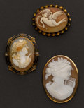 Estate Jewelry:Cameos, Three Interesting Cameos. ... (Total: 3 Items)