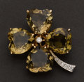 Estate Jewelry:Brooches - Pins, Large Four Leaf Clover Diamond & Topaz Brooch. ...