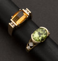 Estate Jewelry:Rings, Two Gold Rings One Peridot & One Citrine. ... (Total: 2 Items)