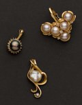 Estate Jewelry:Pendants and Lockets, Three Pearl Pendants. ... (Total: 3 Items)