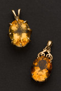 Estate Jewelry:Pendants and Lockets, Two Citrine Drops. ... (Total: 2 Items)