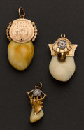 Estate Jewelry:Other , Three Gold Cap Elk's Tooth Fobs. ...