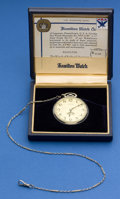 Timepieces:Pocket (post 1900), Hamilton 14k White Gold 12 Size Pocket Watch With 14k Gold Chain& Original Box. ...