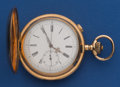 Timepieces:Pocket (post 1900), Swiss 14k Gold Working 58 mm Quarter Hour Repeater With ChronographPocket Watch . ...