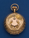 Timepieces:Pocket (post 1900), Waltham Very Sharp 14k Gold 6 Size Multi-Color Pocket Watch. ...