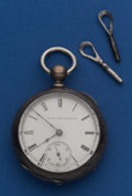 Timepieces:Pocket (pre 1900) , Elgin 3 Oz. 18 Size Silver Key Wind Pocket Watch. ...