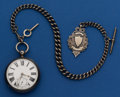 Timepieces:Pocket (pre 1900) , Swiss Sterling Lever Fusee With Heavy Sterling Chain & Fob. ...