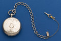 Timepieces:Pocket (pre 1900) , Swiss Coin Silver 58 mm Key Wind Pocket Watch With Metal Chain. ...