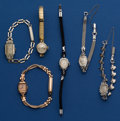 Timepieces:Wristwatch, Six Ladies 14k Gold Wristwatches With Metal Bands Runners. ...(Total: 6 Items)