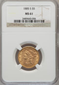 Liberty Half Eagles: , 1885-S $5 MS61 NGC. NGC Census: (781/2626). PCGS Population (303/1785). Mintage: 1,211,500. Numismedia Wsl. Price for probl...